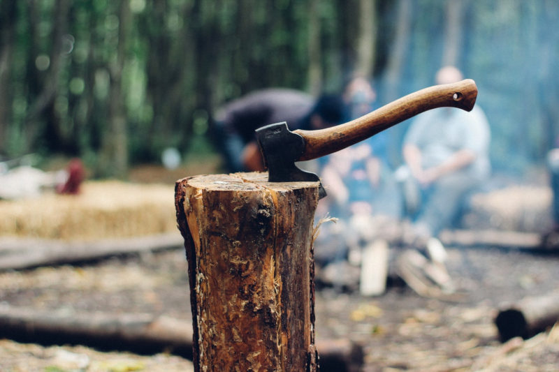 Wood Chopping with Hatchet