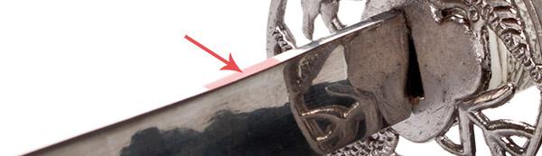 Back spine of Samurai Sword